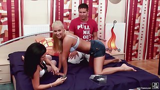 Bandeau poker ends with crazy and passionate threesome intercourse with two coeds