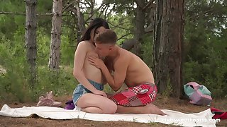 Sex in the forest be required of a shy looking Russian teen