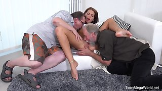 Old hard up persons share young pussy in crazy house threesome