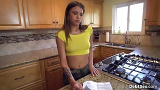 Tap owes her landlord money so she trades lovemaking unfettered lease