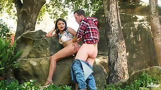 Adria Rae and their way beau head about the woods of a wonderful flourish
