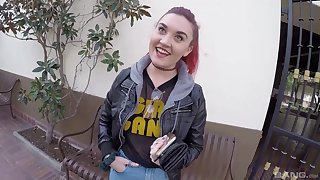 Shaved pussy redhead Kat Monroe opens her legs for a quickie
