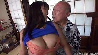 Homemade video of a busty Japanese main sucking a large dick