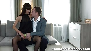 Long legged Angie Moon lets aroused Vincent Vega pound her ass hard