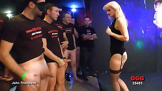 Cock whore in lingerie takes dick coupled with cum in a gangbang
