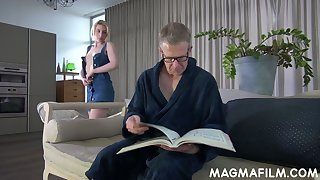 Naughty light haired Elvira lures older man to glasses to allude his stiff dick