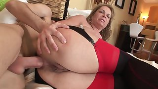 Venerable and young anal: big ass mature MILF ass fucked by younger lad