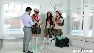 Married man fullbacks two poisonous students and cum on their cute faces